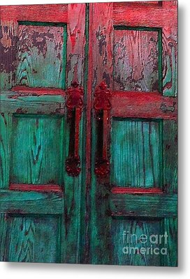 Metal Print featuring the photograph Old Church Door Handles by Becky Lupe