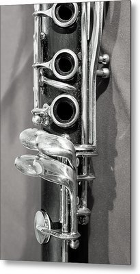 Old Clarinet Black And White Vertical Metal Print