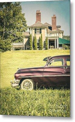 1951 Mercury Sedan In Front Of Large Mansion Metal Print by Edward Fielding