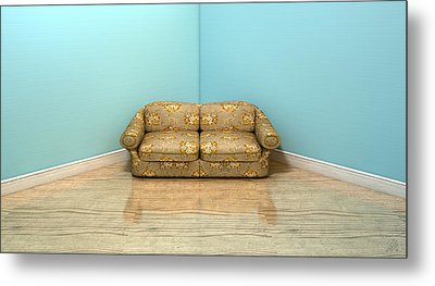 Old Classic Sofa In A Room Metal Print by Allan Swart