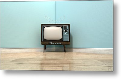 Old Classic Television In A Room Metal Print
