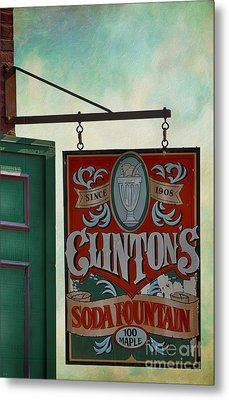 Old Clinton's Soda Fountain Sign Metal Print