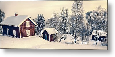 Old Cottages In A Snowy Rural Landscape Metal Print by Christian Lagereek