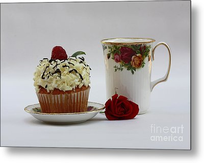 Old Country Rose And Raspberry Cupcake Delight Metal Print by Inspired Nature Photography Fine Art Photography