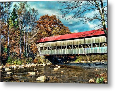 Old Covered Bridge Metal Print by Kenny Francis