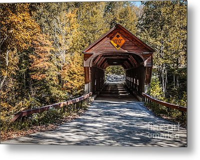 Old Covered Bridge Vermont Metal Print by Edward Fielding