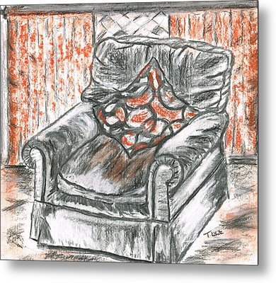 Metal Print featuring the drawing Old Cozy Chair by Teresa White