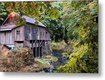 Old Creek Grist Mill In Autumn Metal Print by Athena Mckinzie