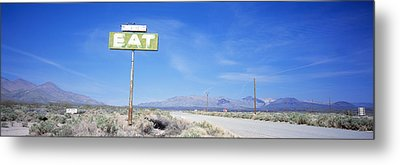 Old Diner Sign, Highway 395 Metal Print by Panoramic Images