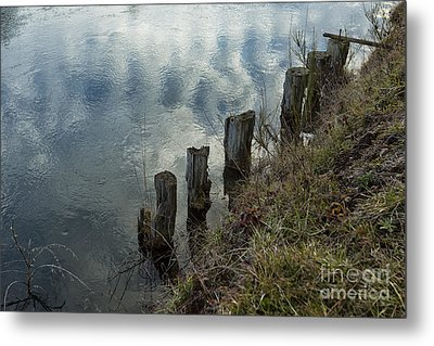 Old Dock Supports Along The Canal Bank - No 1 Metal Print by Belinda Greb