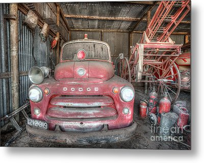Old Dodge Fire Truck Metal Print by Shannon Rogers