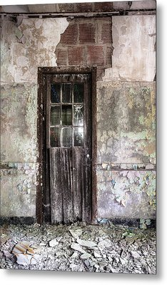 Old Door - Abandoned Building - Tea Metal Print by Gary Heller