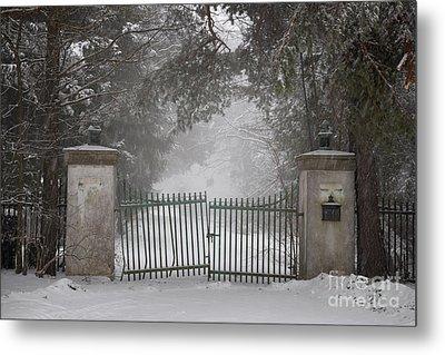 Old Driveway Gate In Winter Metal Print by Elena Elisseeva