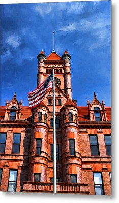 Old Dupage County Courthouse Flag Metal Print by Christopher Arndt