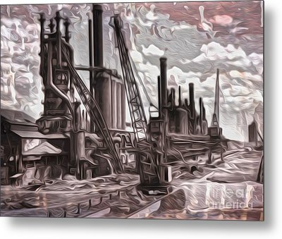 Metal Print featuring the painting Old Factory by Gregory Dyer
