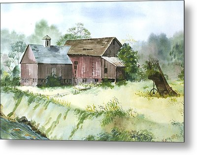 Metal Print featuring the painting Old Farm Buildings by Susan Crossman Buscho