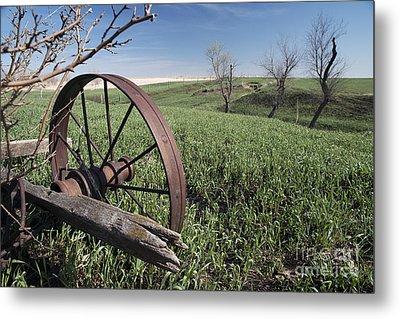 Old Farm Wagon Metal Print by Art Whitton