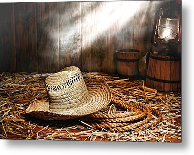 Old Farmer Hat And Rope Metal Print