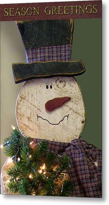 Old Fashion Snowman Card Metal Print by Debra     Vatalaro
