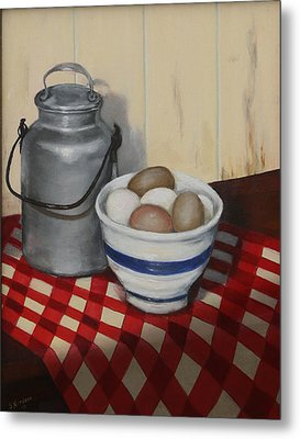 Metal Print featuring the painting Old Fashioned Breakfast by Sandra Nardone