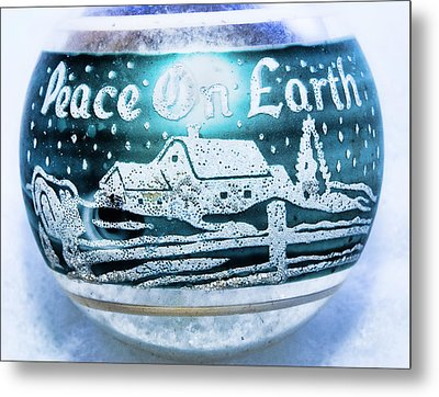 Metal Print featuring the photograph Christmas Tree Ornament Peace On Earth  by Vizual Studio