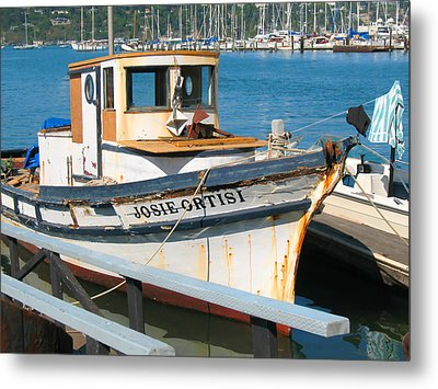 Old Fishing Boat In Sausalito Metal Print by Connie Fox
