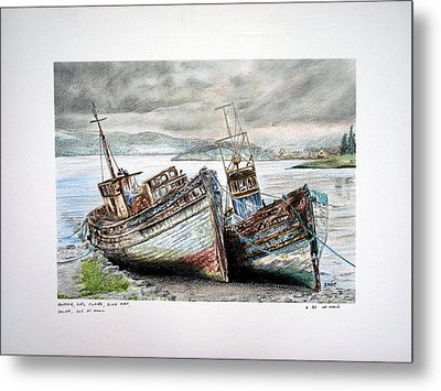 Old Fishing Boats Salen Isle Of Mull Metal Print by Aaron De la Haye