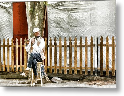 Old Flute Player Metal Print