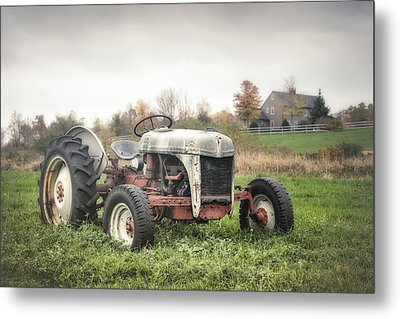 Old Ford Tractor And Farm House Metal Print by Gary Heller