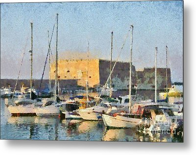 Painting Of Old Fortress Metal Print by George Atsametakis