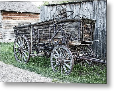 Old Freight Wagon - Montana Territory Metal Print by Daniel Hagerman