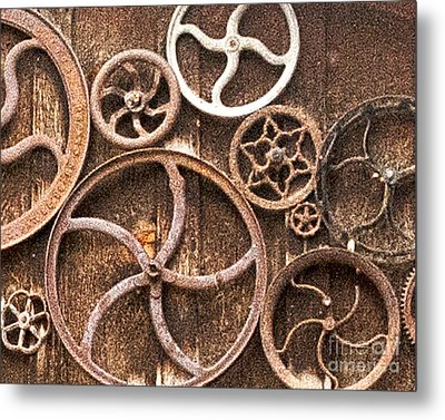 Old Gears In Genoa Nevada Metal Print by Artist and Photographer Laura Wrede