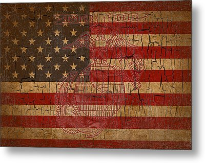 Old Glory And The Marine Corps Metal Print