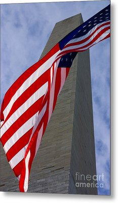 Metal Print featuring the photograph Old Glory And The Washington Monument by John S