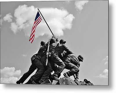 Old Glory At Iwo Jima Metal Print by Jean Goodwin Brooks
