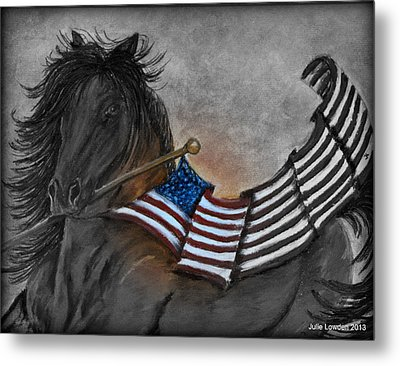 Old Glory Black And White Metal Print by Julie Lowden