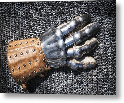 Old Glove Of A Medieval Knight Metal Print by Matthias Hauser