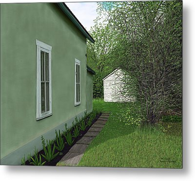 Old Green House Metal Print by Michelle Moroz-Chymy