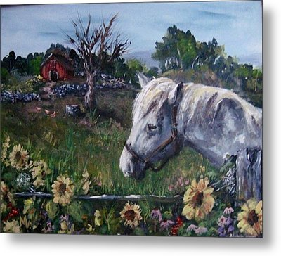 Metal Print featuring the painting Old Grey Mare by Megan Walsh