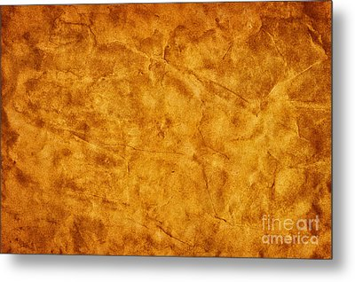 Old Grunge Creased Paper Background Metal Print by Michal Bednarek