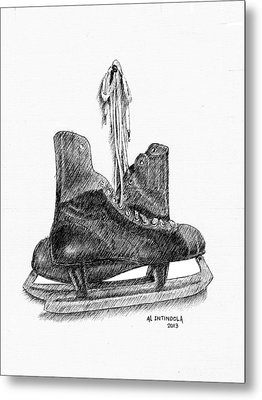 Old Hockey Skates Metal Print by Al Intindola