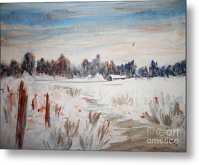 Old Homestead In Winter Metal Print by Suzanne McKay