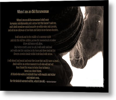 Old Horsewoman Metal Print by Mim White