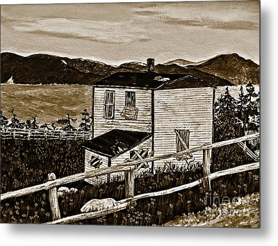 Old House In Sepia Metal Print by Barbara Griffin