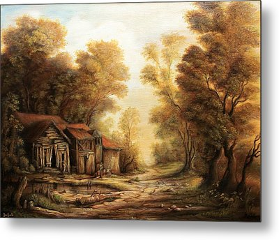 Old Huts In The Forest Metal Print by Dan Scurtu