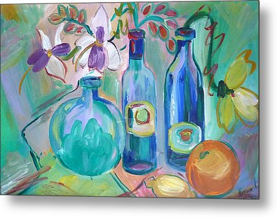 Old Hyacinth Bottle Metal Print by Brenda Ruark