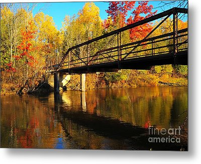 Metal Print featuring the photograph Historic Harvey Bridge Over Manistee River In Wexford County Michigan by Terri Gostola