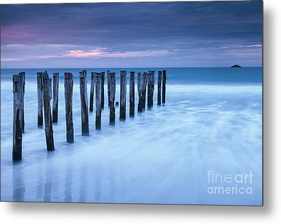 Old Jetty Pilings Dunedin New Zealand Metal Print by Colin and Linda McKie