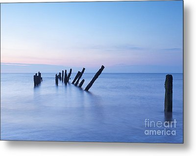 Old Jetty Posts At Sunrise Metal Print by Colin and Linda McKie