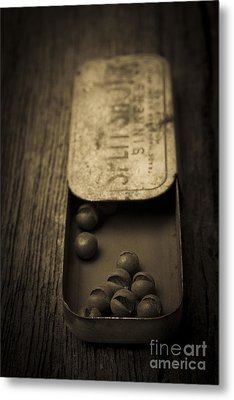 Old Lead Fishing Sinkers In Tin Metal Print